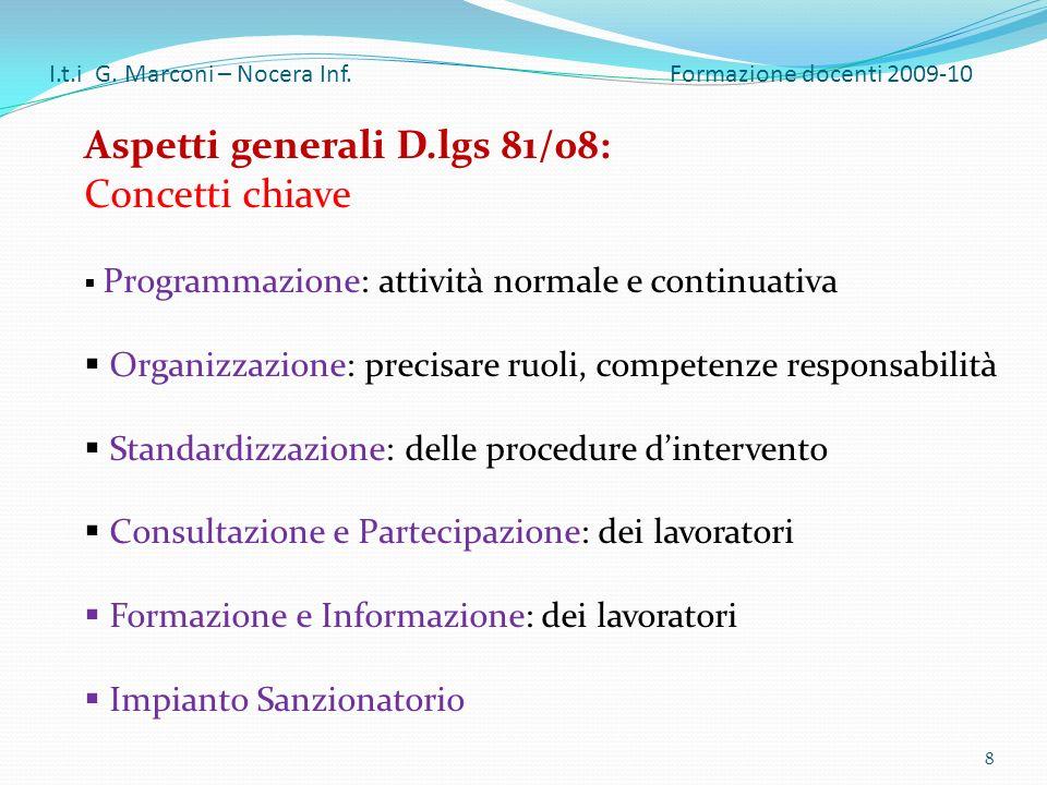 Aspetti generali D.lgs 81/08: Concetti chiave