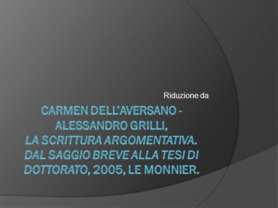 Riduzione da Carmen Dell'Aversano - Alessandro Grilli, La scrittura argomentativa.