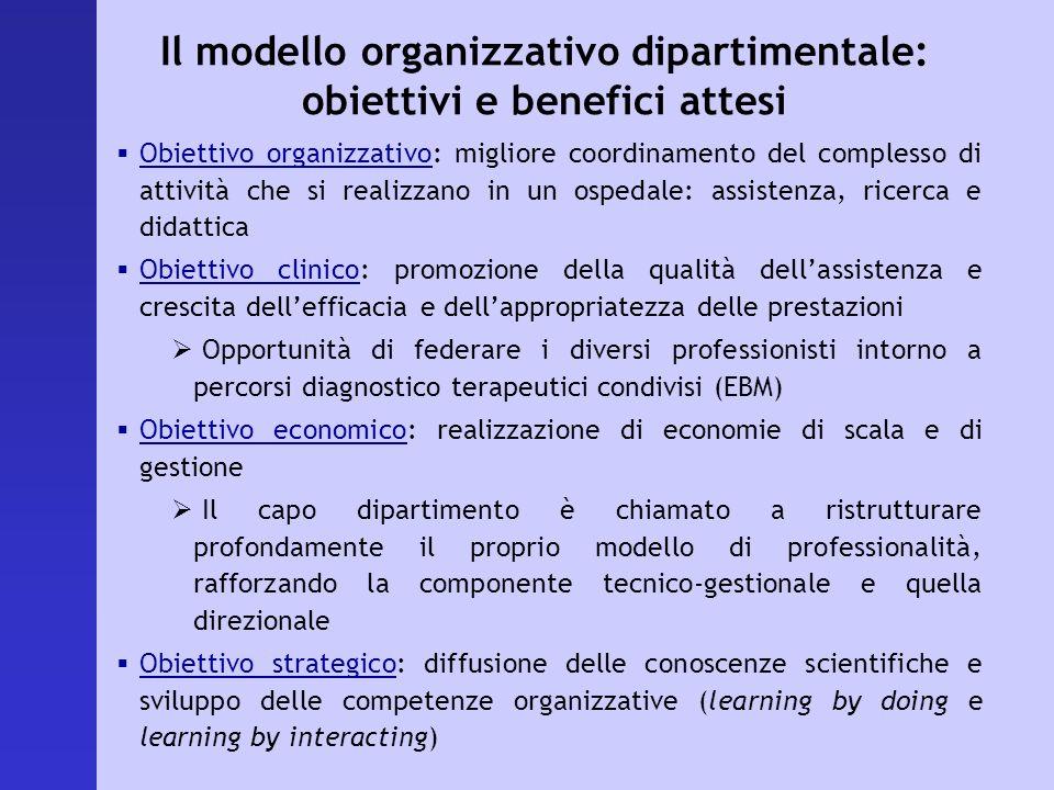 Il modello organizzativo dipartimentale: obiettivi e benefici attesi