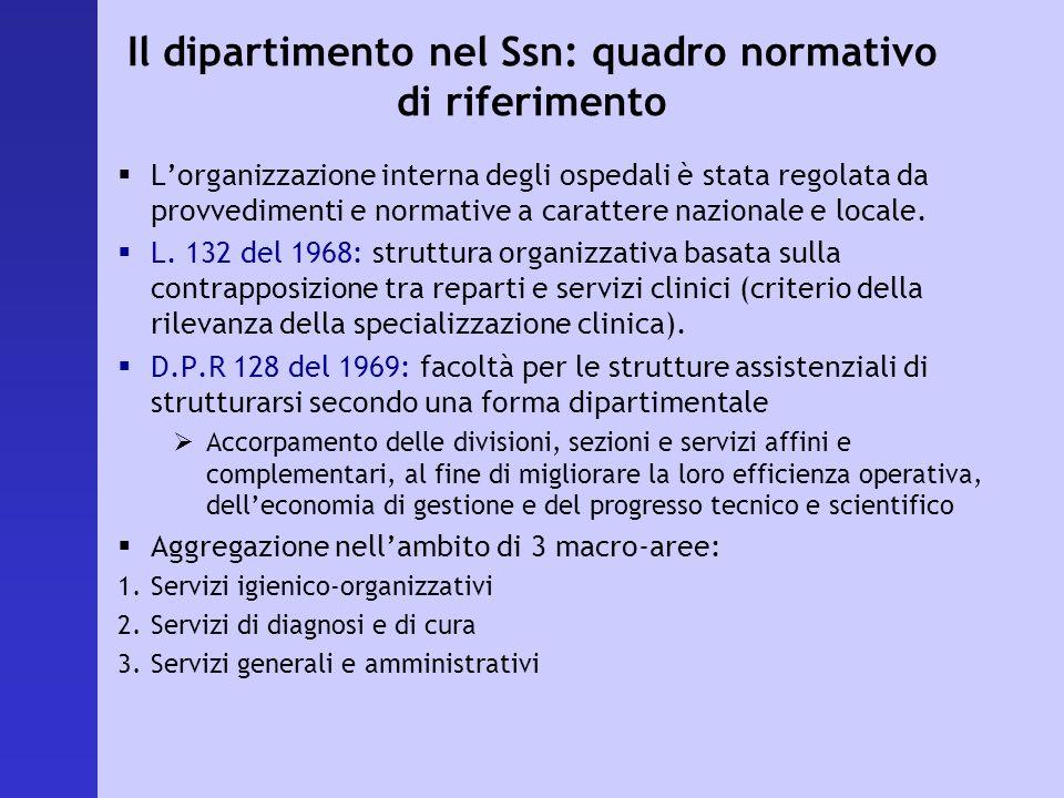 Il dipartimento nel Ssn: quadro normativo di riferimento