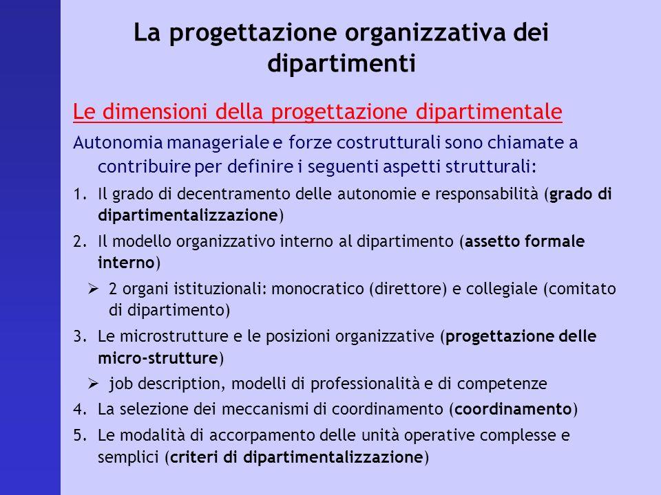La progettazione organizzativa dei dipartimenti