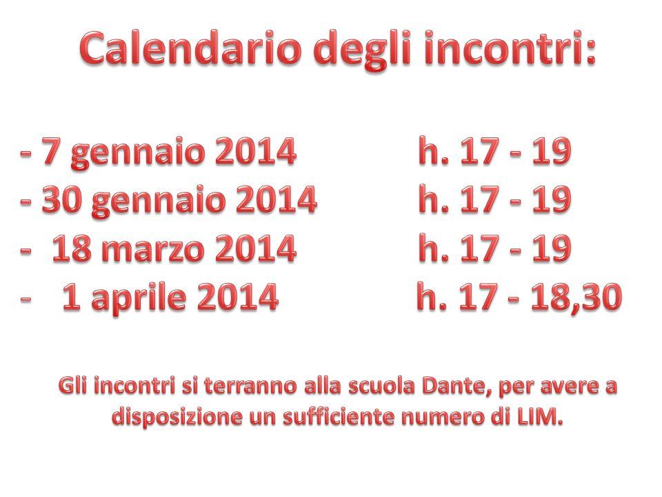 Calendario degli incontri: