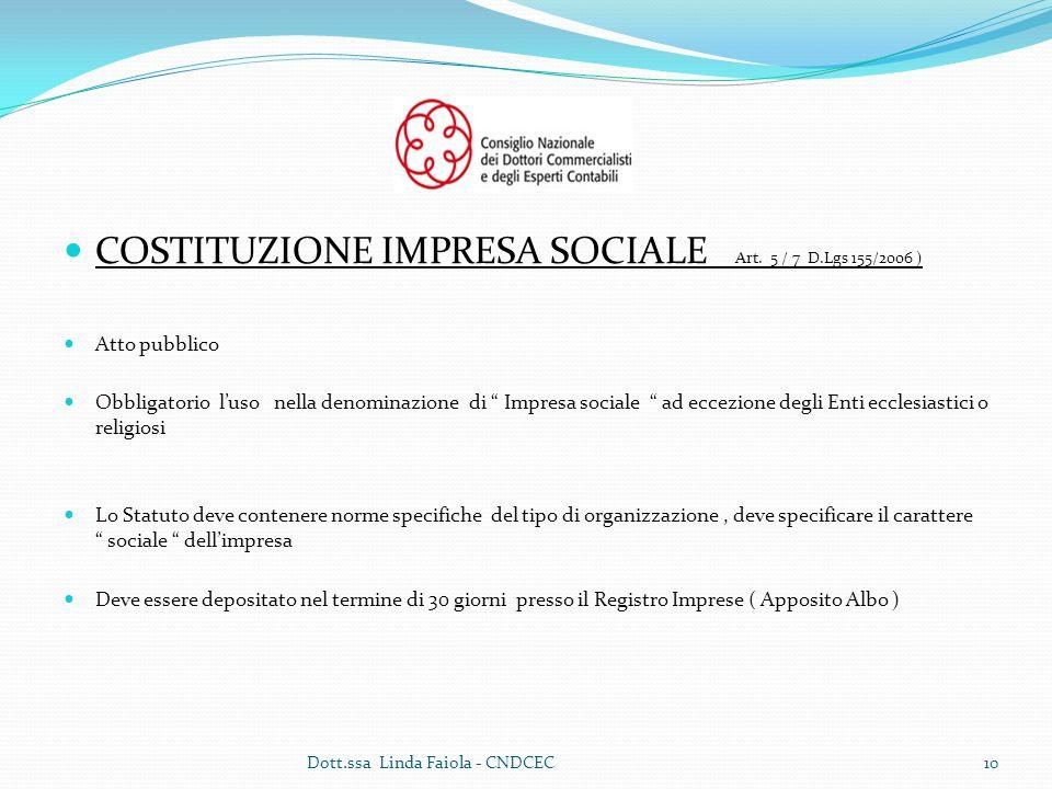 COSTITUZIONE IMPRESA SOCIALE Art. 5 / 7 D.Lgs 155/2006 )
