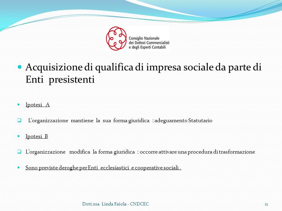 Acquisizione di qualifica di impresa sociale da parte di Enti presistenti