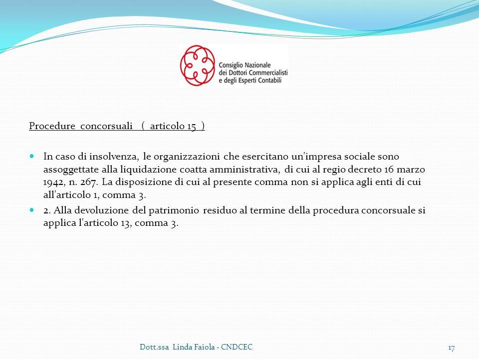 Procedure concorsuali ( articolo 15 )