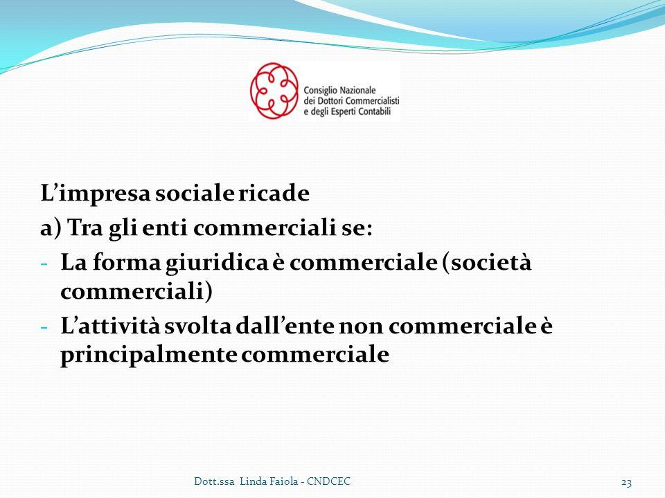 L'impresa sociale ricade a) Tra gli enti commerciali se: