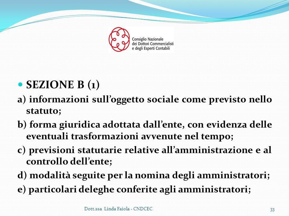 SEZIONE B (1) a) informazioni sull'oggetto sociale come previsto nello statuto;