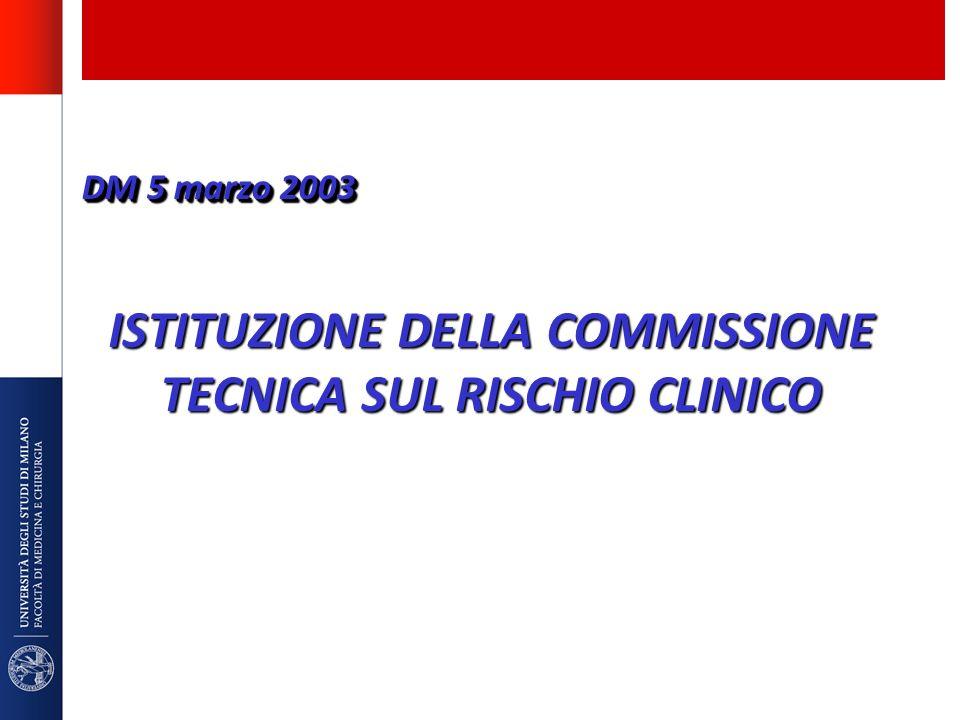 ISTITUZIONE DELLA COMMISSIONE TECNICA SUL RISCHIO CLINICO