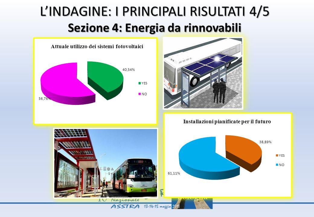 L'INDAGINE: I PRINCIPALI RISULTATI 4/5 Sezione 4: Energia da rinnovabili