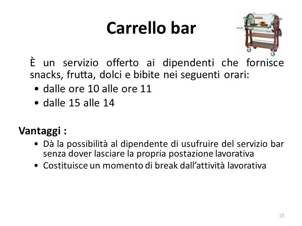 Carrello bar È un servizio offerto ai dipendenti che fornisce snacks, frutta, dolci e bibite nei seguenti orari: