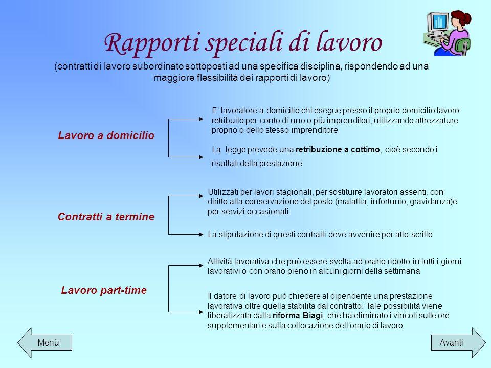 Rapporti speciali di lavoro (contratti di lavoro subordinato sottoposti ad una specifica disciplina, rispondendo ad una maggiore flessibilità dei rapporti di lavoro)