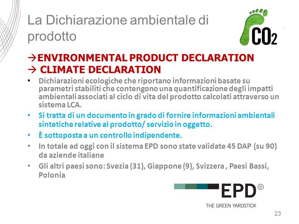 La Dichiarazione ambientale di prodotto