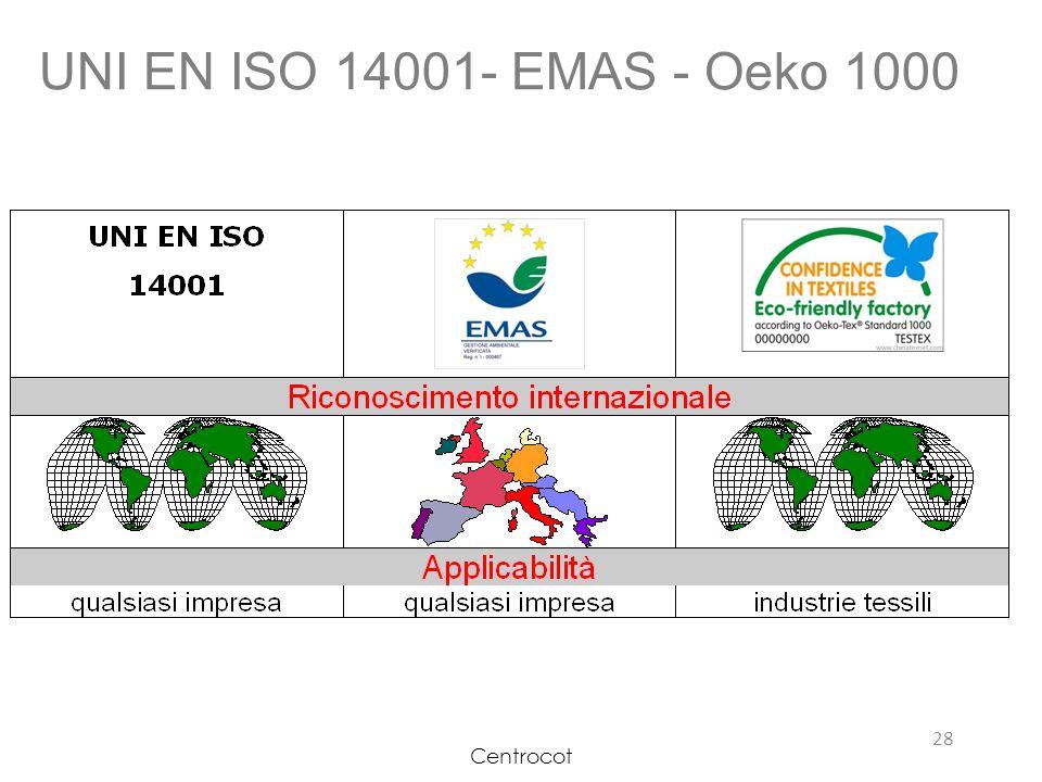 UNI EN ISO 14001- EMAS - Oeko 1000 Centrocot 11