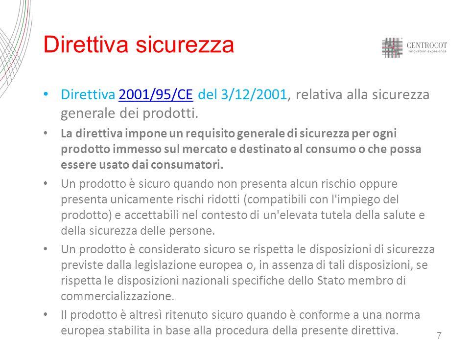 Direttiva sicurezza Direttiva 2001/95/CE del 3/12/2001, relativa alla sicurezza generale dei prodotti.