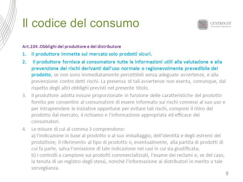 Il codice del consumo Art.104 .Obblighi del produttore e del distributore. Il produttore immette sul mercato solo prodotti sicuri.