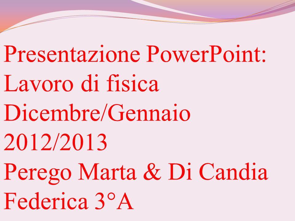 Presentazione PowerPoint: Lavoro di fisica Dicembre/Gennaio 2012/2013 Perego Marta & Di Candia Federica 3°A