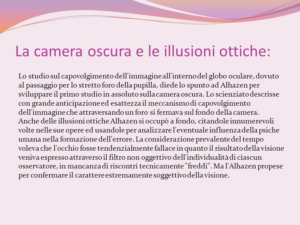 La camera oscura e le illusioni ottiche: