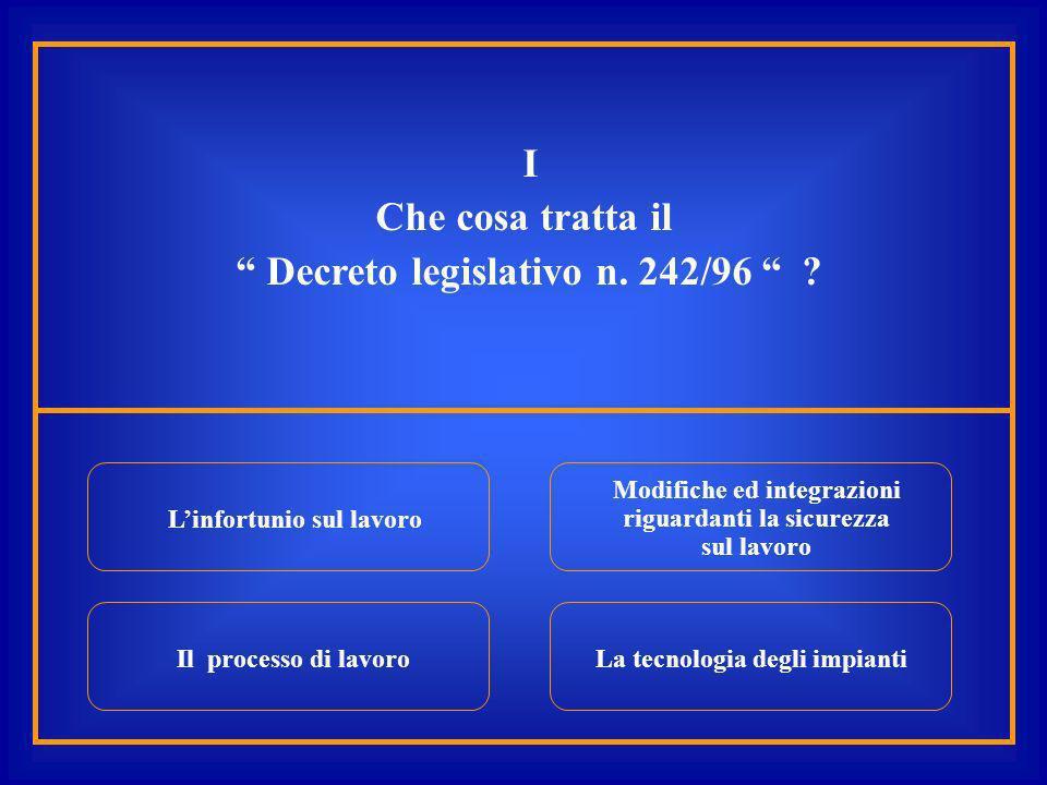 I Che cosa tratta il Decreto legislativo n. 242/96