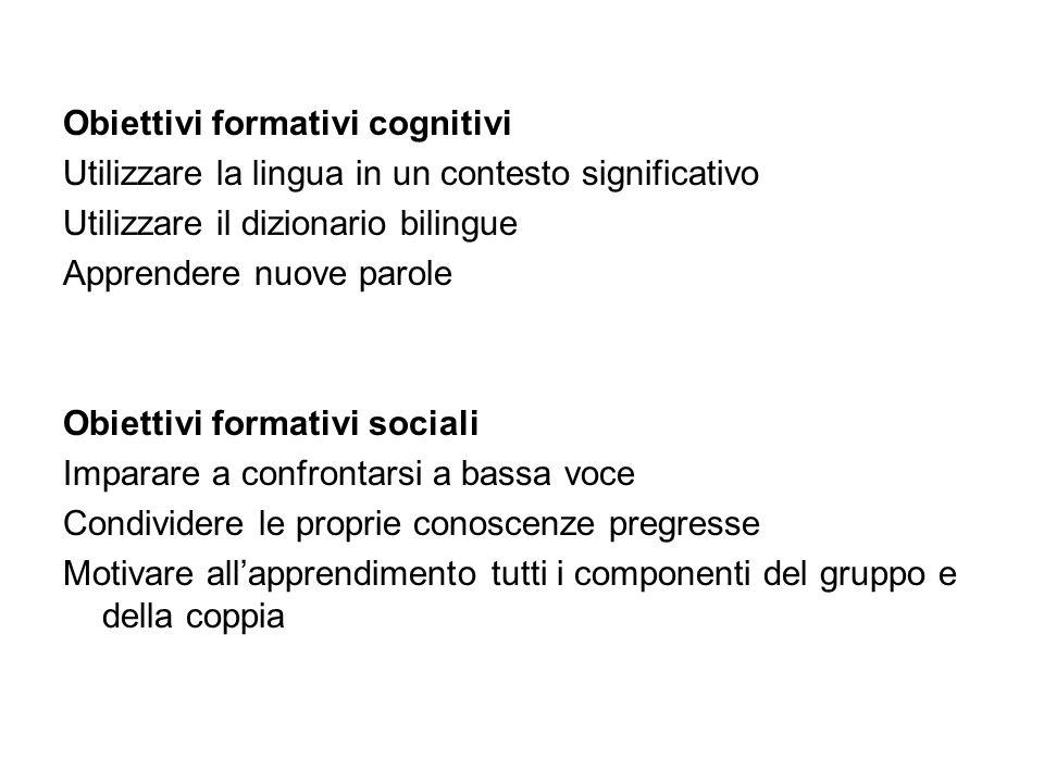 Obiettivi formativi cognitivi