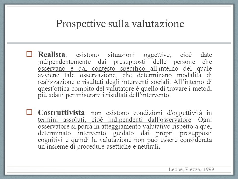 Prospettive sulla valutazione