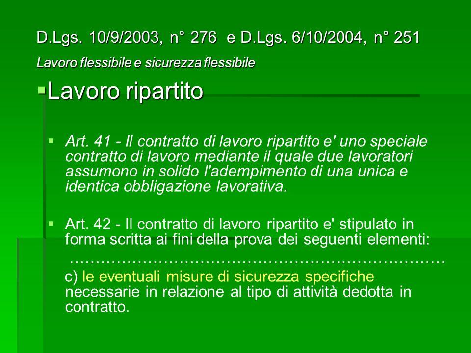 Lavoro ripartito D.Lgs. 10/9/2003, n° 276 e D.Lgs. 6/10/2004, n° 251