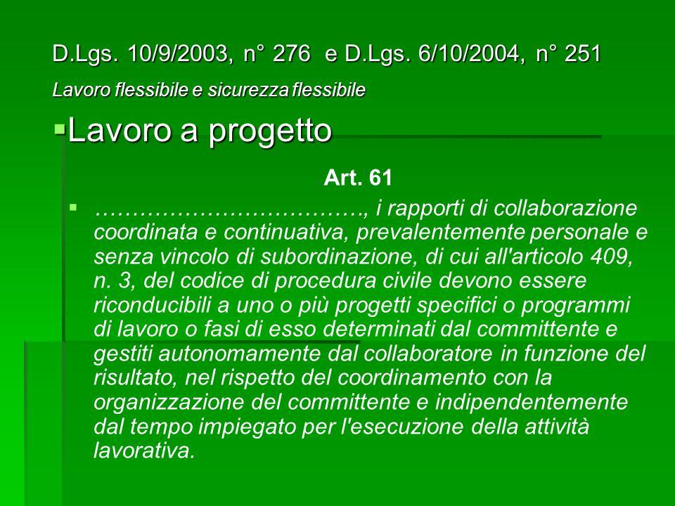 Lavoro a progetto D.Lgs. 10/9/2003, n° 276 e D.Lgs. 6/10/2004, n° 251