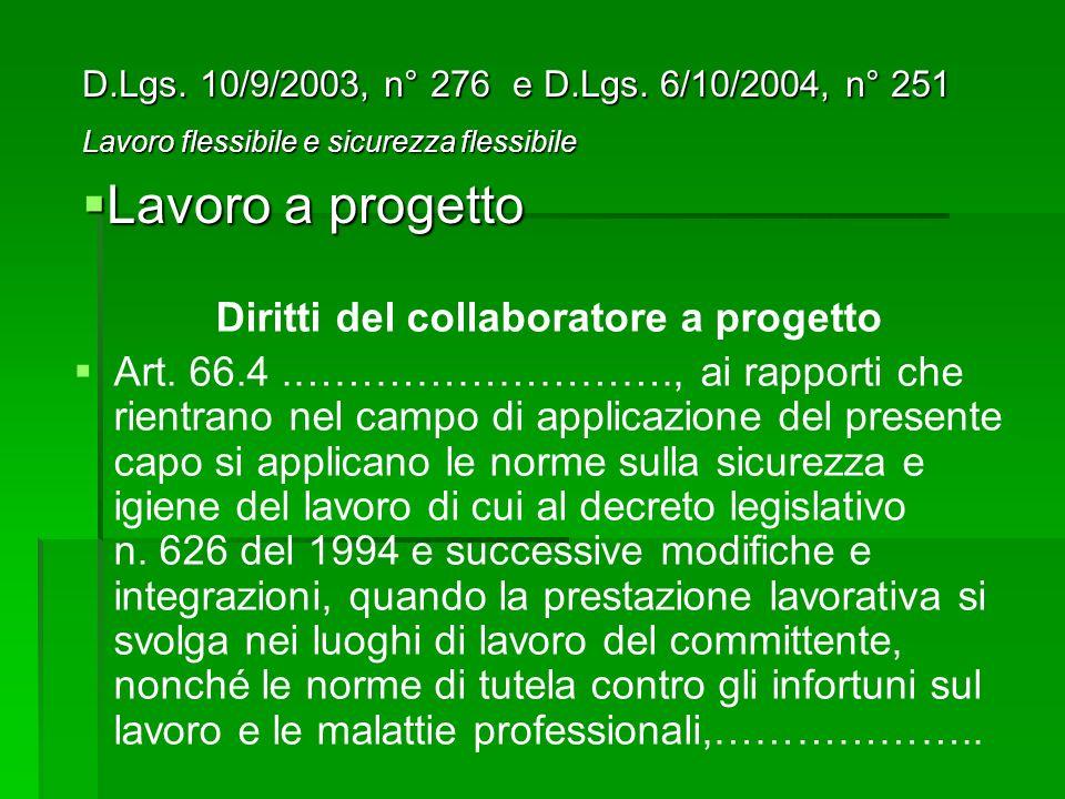 Diritti del collaboratore a progetto