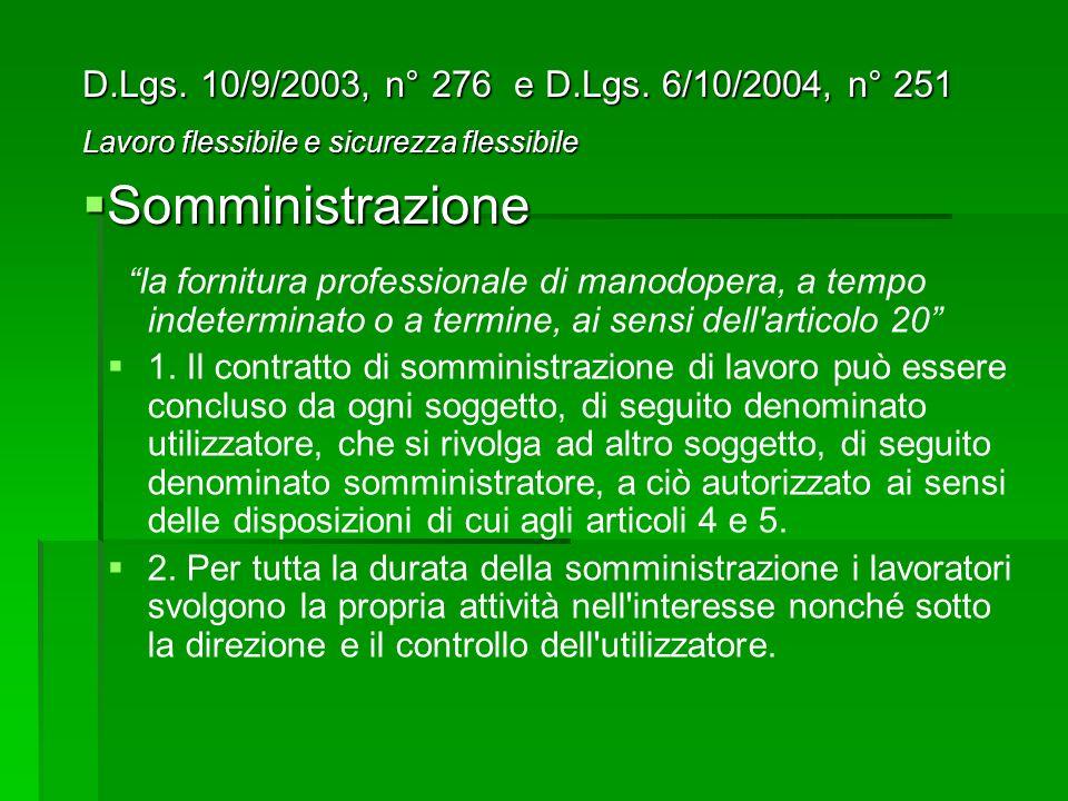 Somministrazione D.Lgs. 10/9/2003, n° 276 e D.Lgs. 6/10/2004, n° 251