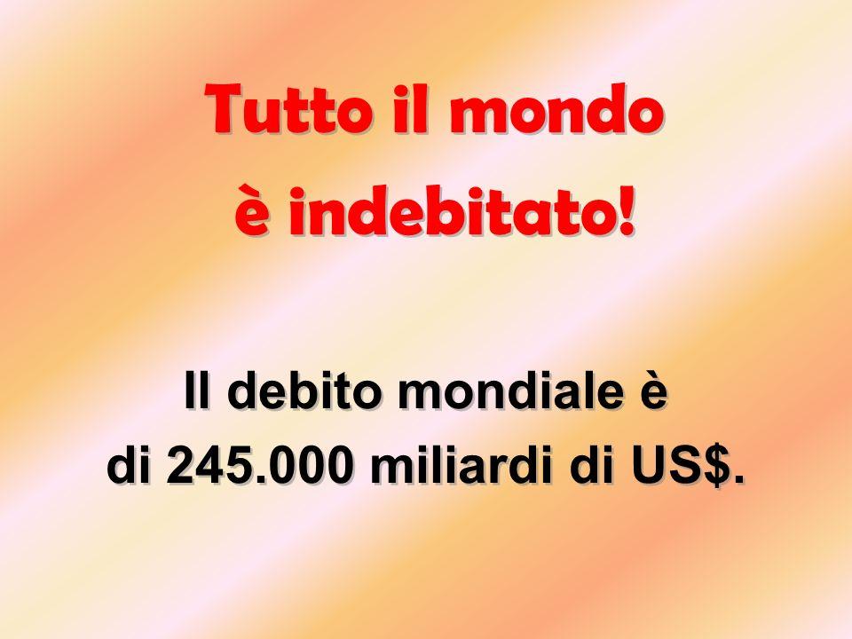 è indebitato! Tutto il mondo Il debito mondiale è