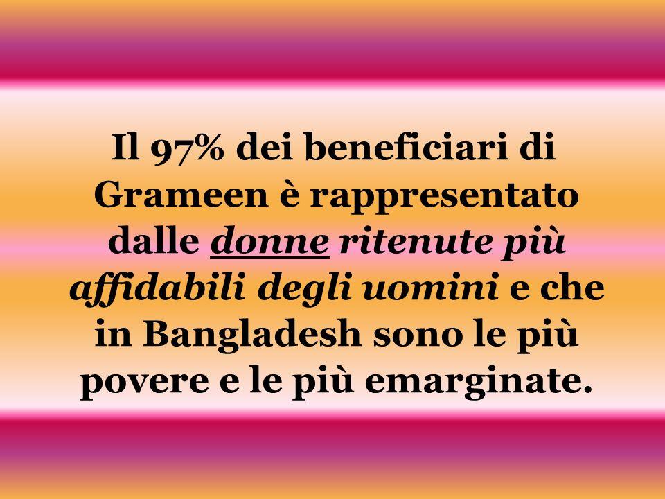 Il 97% dei beneficiari di Grameen è rappresentato dalle donne ritenute più affidabili degli uomini e che in Bangladesh sono le più povere e le più emarginate.