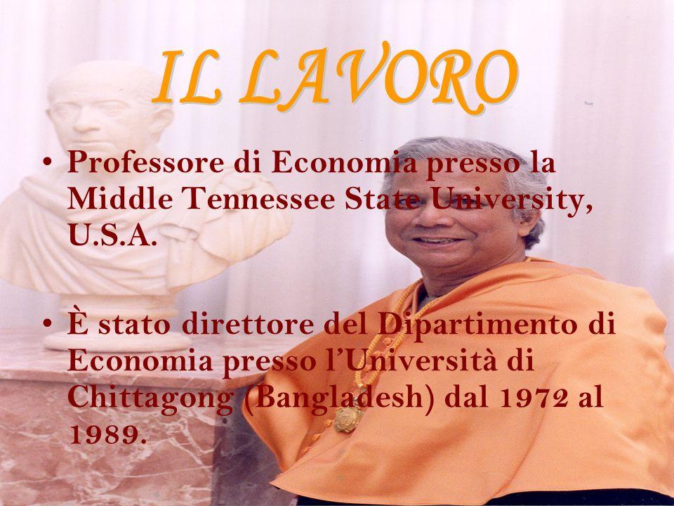 IL LAVORO Professore di Economia presso la Middle Tennessee State University, U.S.A.