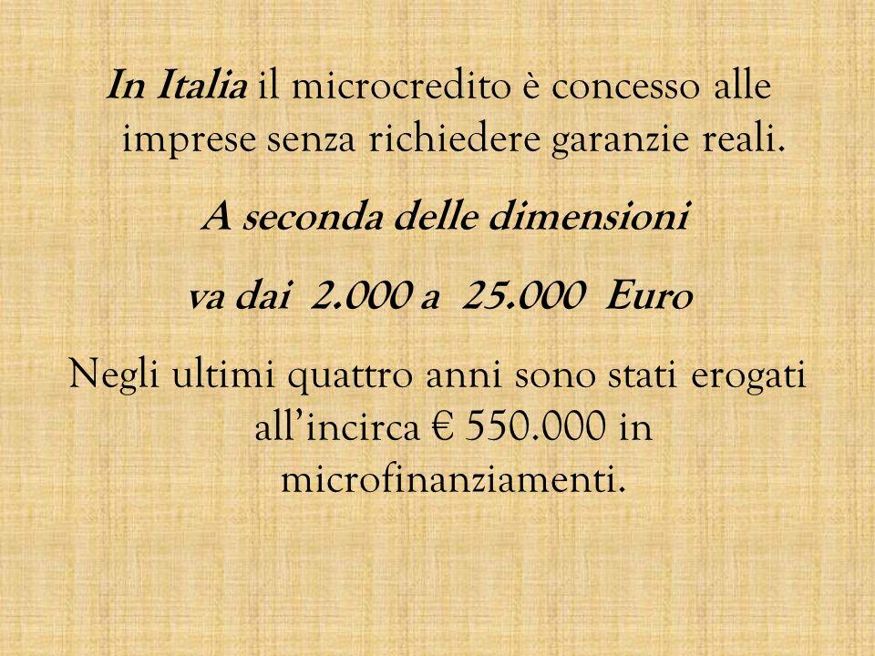In Italia il microcredito è concesso alle imprese senza richiedere garanzie reali.