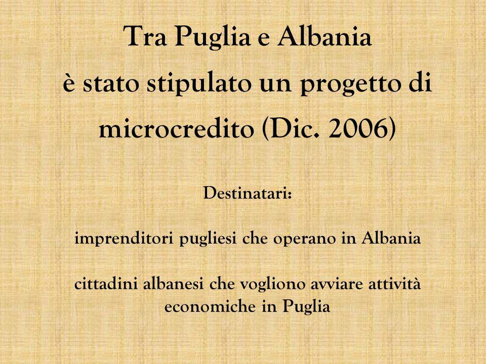 Tra Puglia e Albania è stato stipulato un progetto di microcredito (Dic.