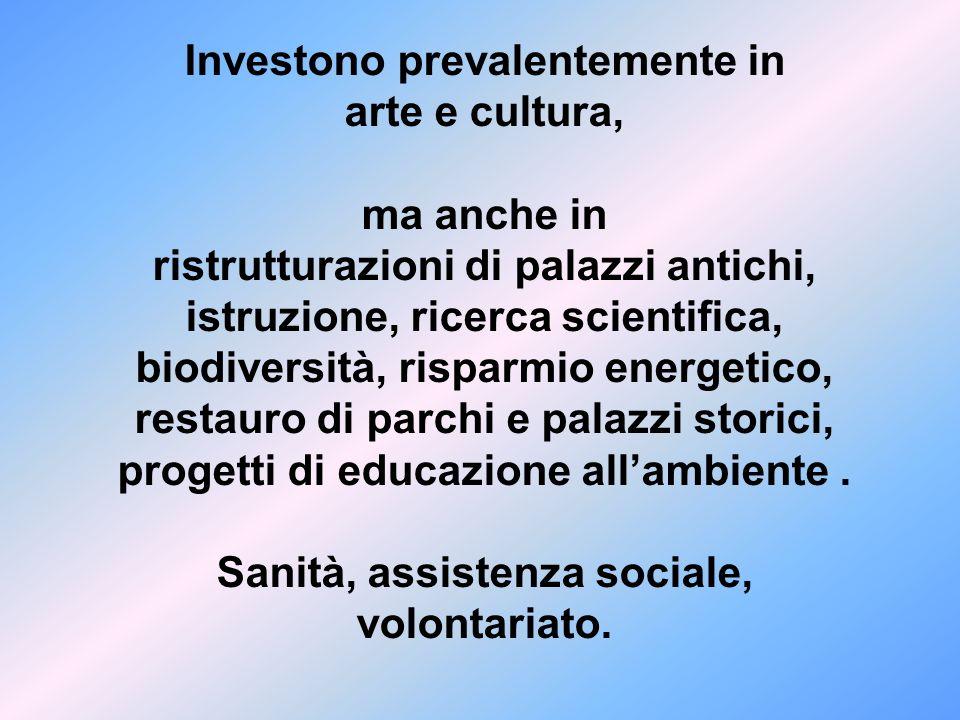 Investono prevalentemente in arte e cultura, ma anche in ristrutturazioni di palazzi antichi, istruzione, ricerca scientifica, biodiversità, risparmio energetico, restauro di parchi e palazzi storici, progetti di educazione all'ambiente .