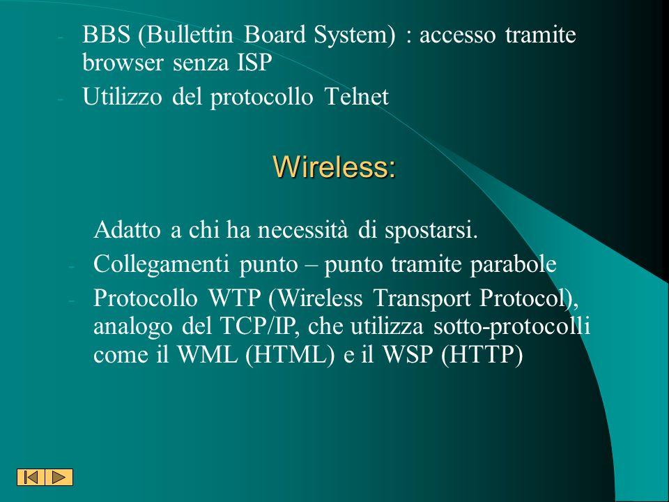 BBS (Bullettin Board System) : accesso tramite browser senza ISP