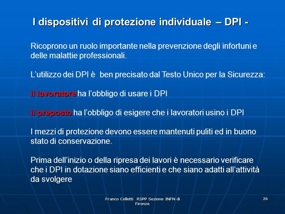 I dispositivi di protezione individuale – DPI -