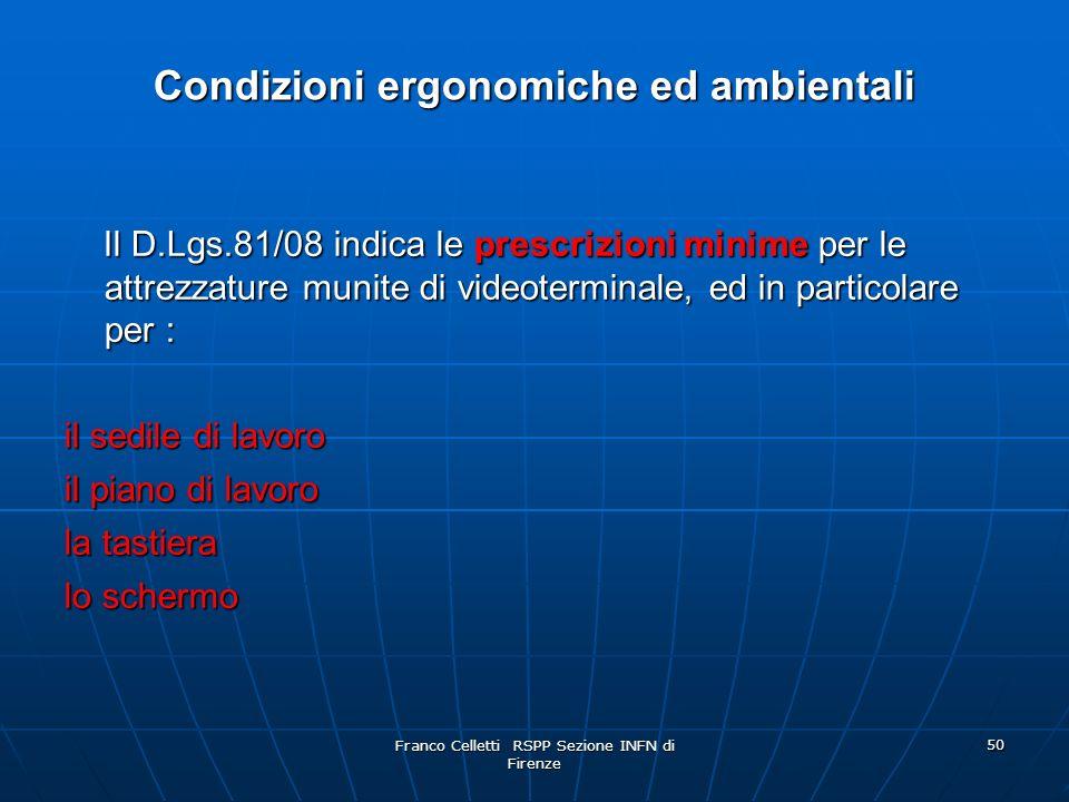 Condizioni ergonomiche ed ambientali