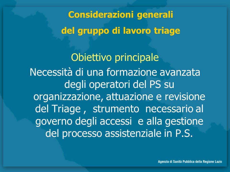 Considerazioni generali del gruppo di lavoro triage