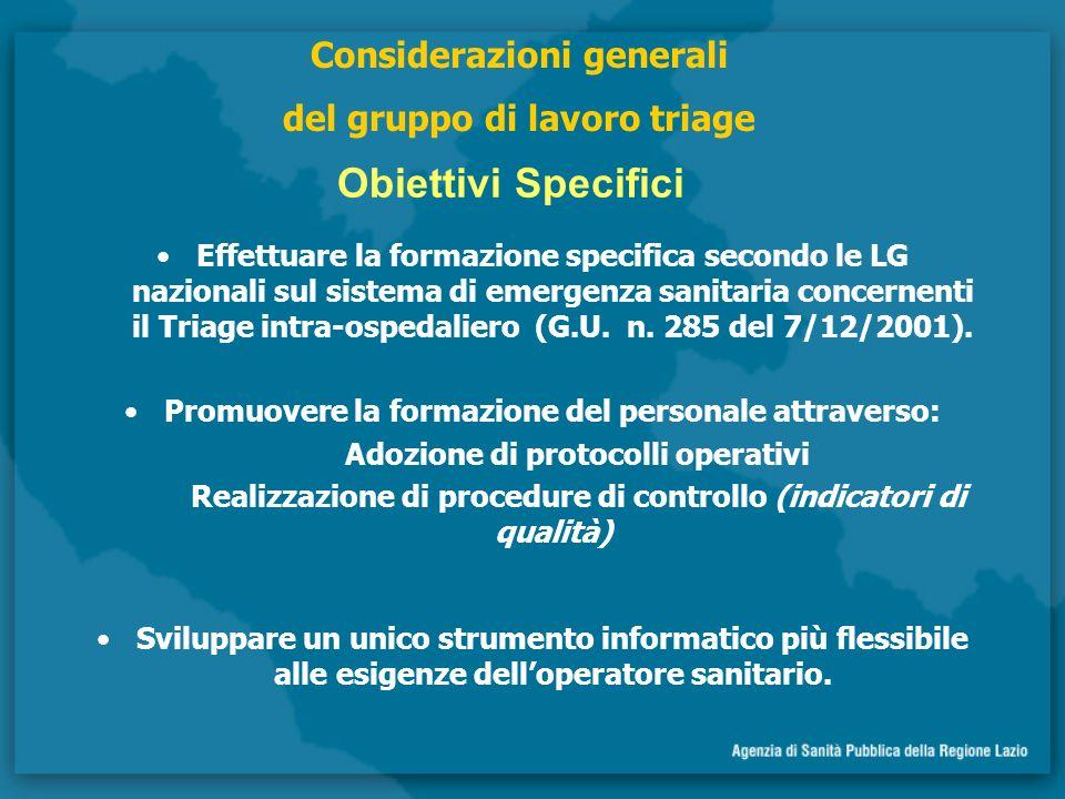 Obiettivi Specifici Considerazioni generali