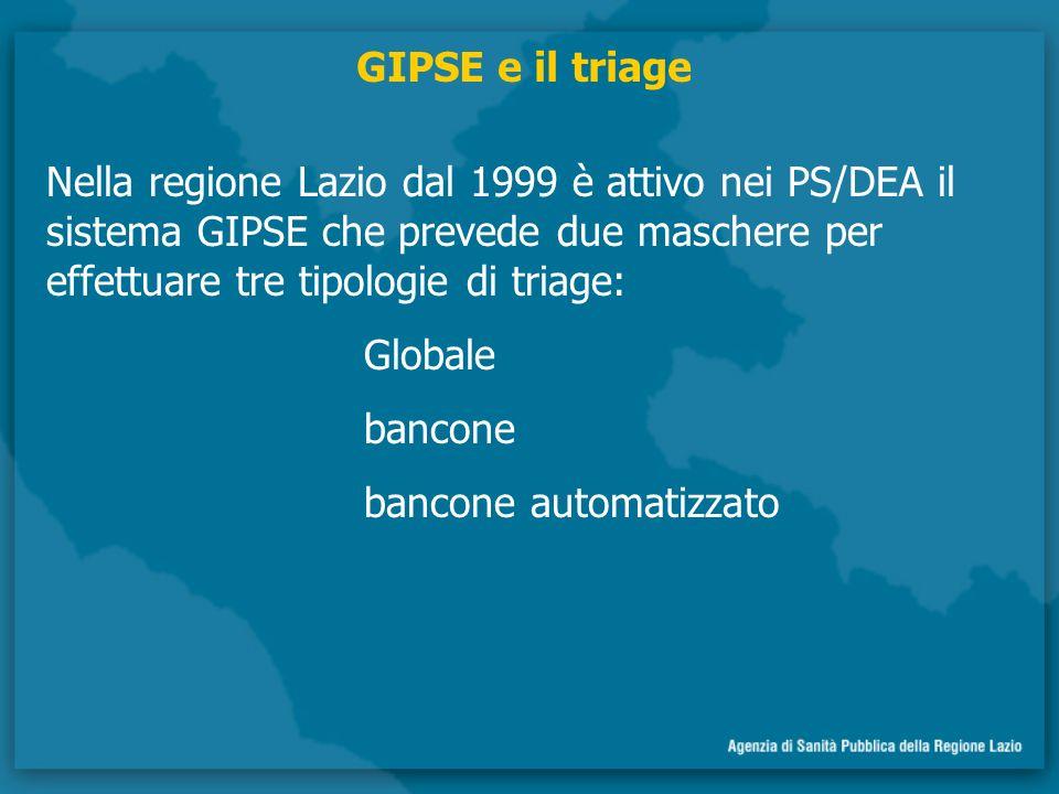 GIPSE e il triage Nella regione Lazio dal 1999 è attivo nei PS/DEA il sistema GIPSE che prevede due maschere per effettuare tre tipologie di triage: