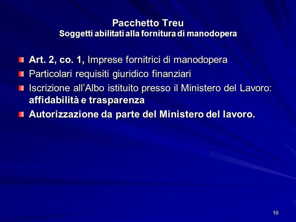 Pacchetto Treu Soggetti abilitati alla fornitura di manodopera