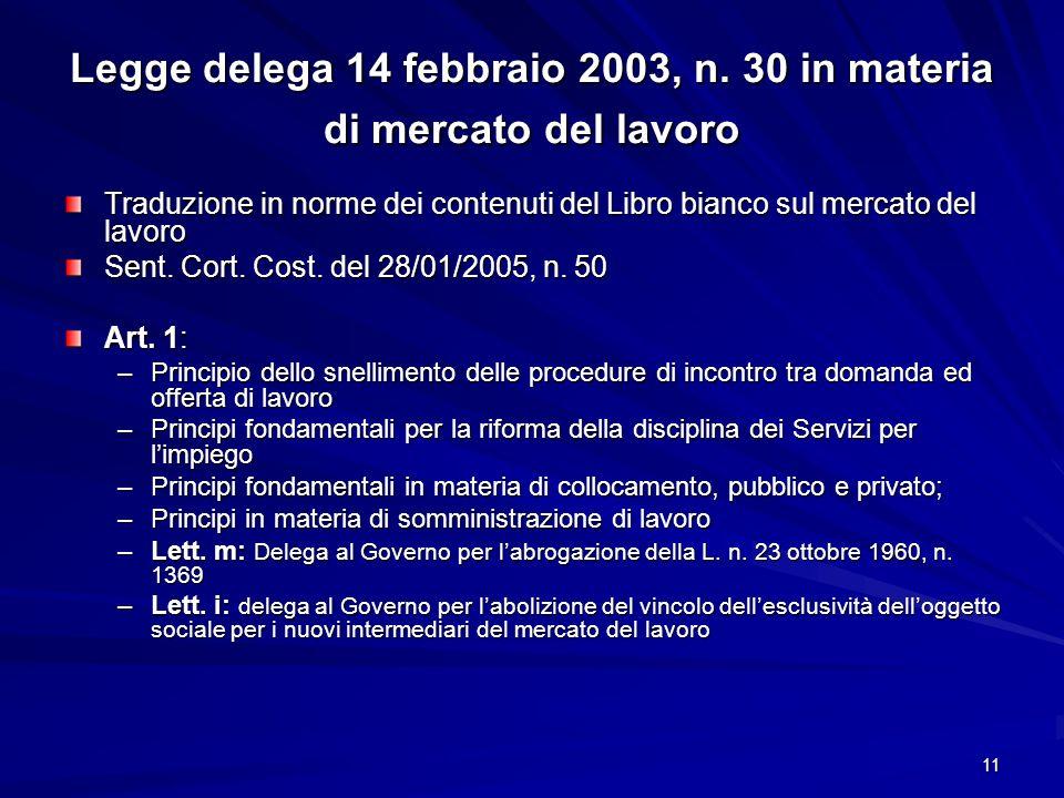 Legge delega 14 febbraio 2003, n. 30 in materia di mercato del lavoro