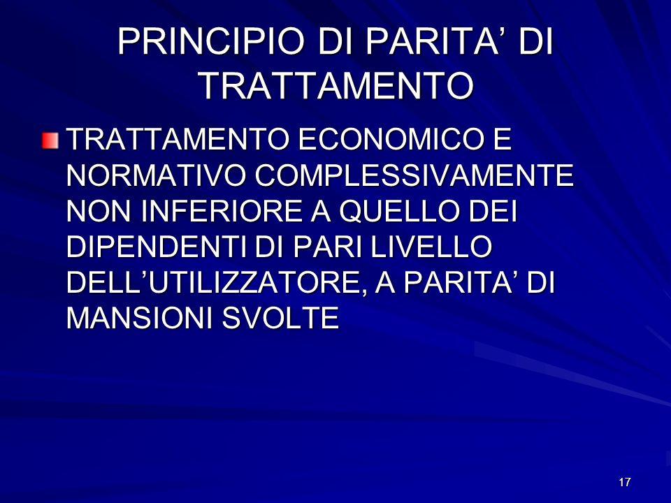 PRINCIPIO DI PARITA' DI TRATTAMENTO