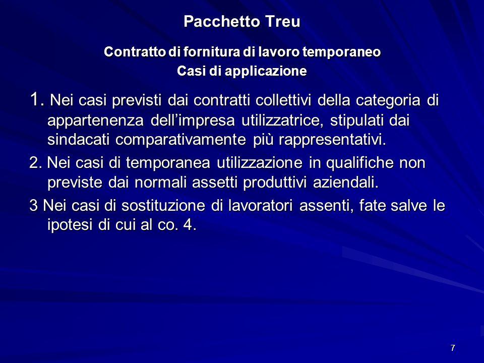 Pacchetto Treu Contratto di fornitura di lavoro temporaneo Casi di applicazione