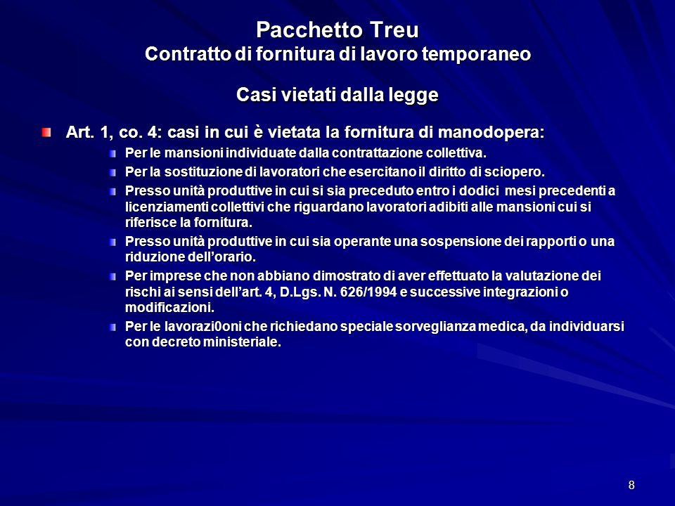 Pacchetto Treu Contratto di fornitura di lavoro temporaneo Casi vietati dalla legge