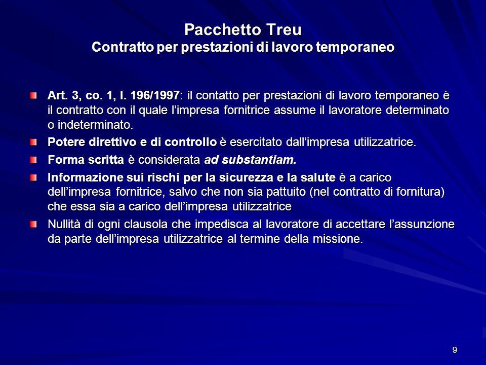 Pacchetto Treu Contratto per prestazioni di lavoro temporaneo