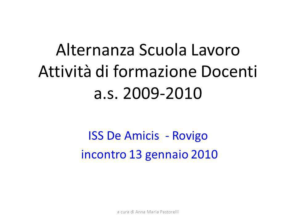 Alternanza Scuola Lavoro Attività di formazione Docenti a.s. 2009-2010