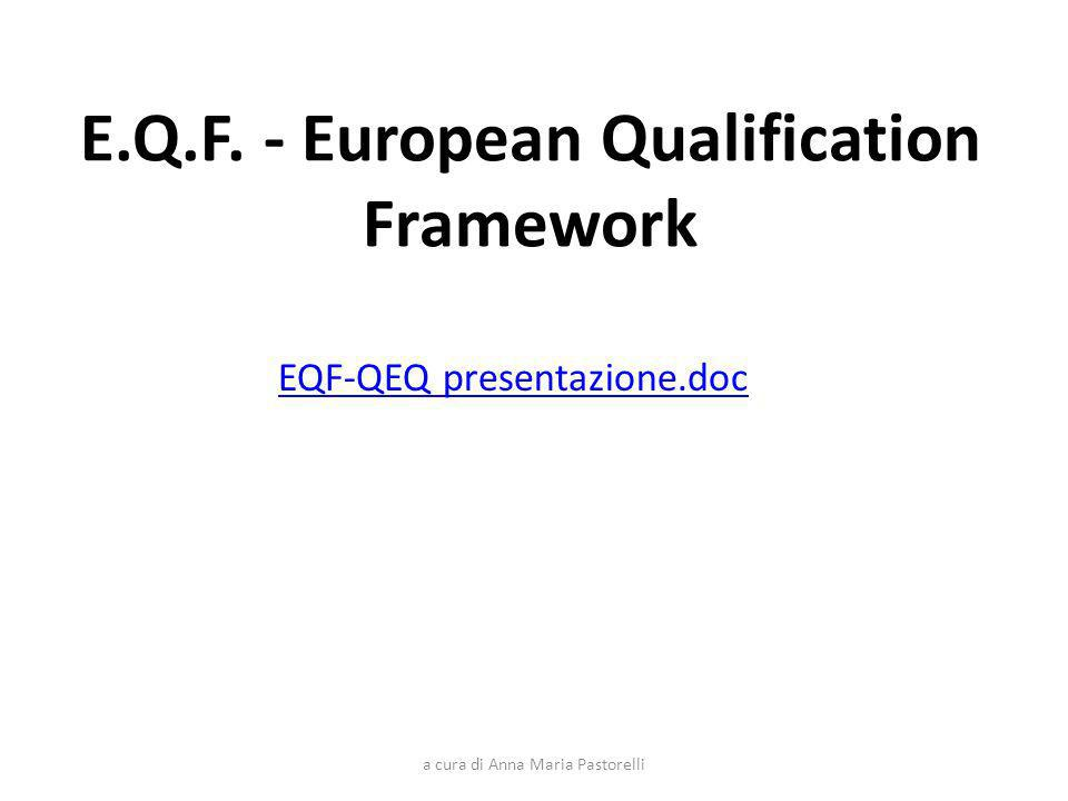 E.Q.F. - European Qualification Framework