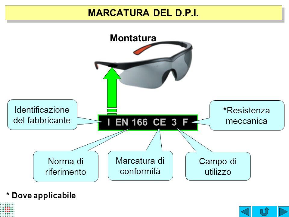 MARCATURA DEL D.P.I. Montatura I EN 166 CE 3 F
