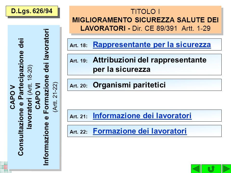 D.Lgs. 626/94 TITOLO I MIGLIORAMENTO SICUREZZA SALUTE DEI LAVORATORI - Dir. CE 89/391 Artt. 1-29. Art. 18: Rappresentante per la sicurezza.